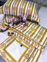 Набор Одеяло - покрывало + простынь с наволочками Версаче ( светлое )